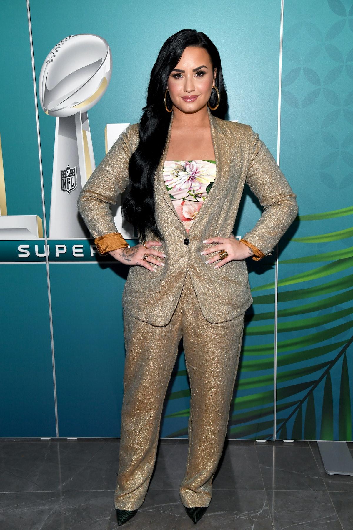 Demi Lovato attends the Super Bowl.