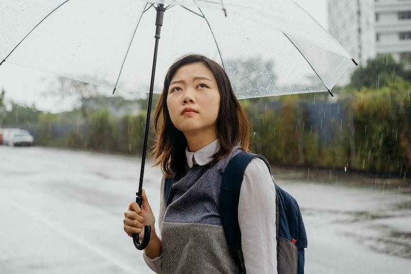 woman, rainy