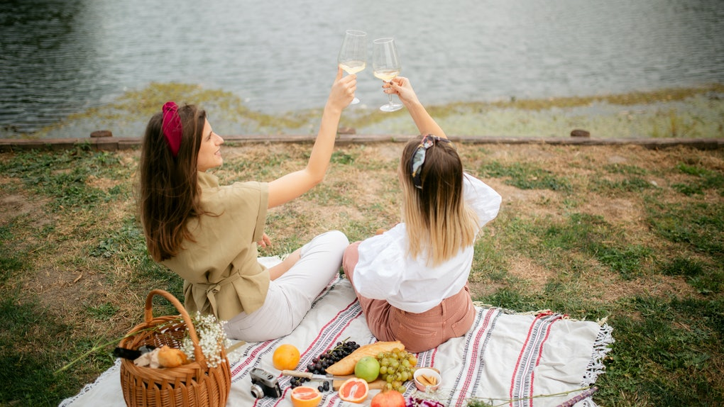Two trendy women cheers their white wine glasses while sitting on a picnic blanket.