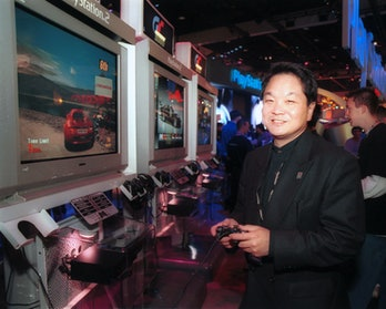 Ken Kutaragi at an arcade.