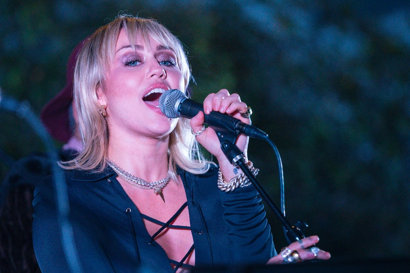 """Miley Cyrus performed an unexpected cover of """"Gimme More"""" by Britney Spears for her Backyard Sessions."""