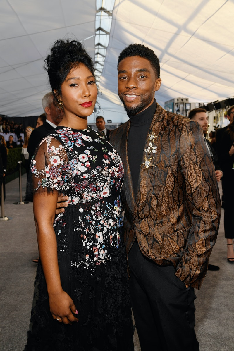 The late Chadwick Boseman and Wife Simone Ledward at the 2019 SAG Awards in Los Angeles