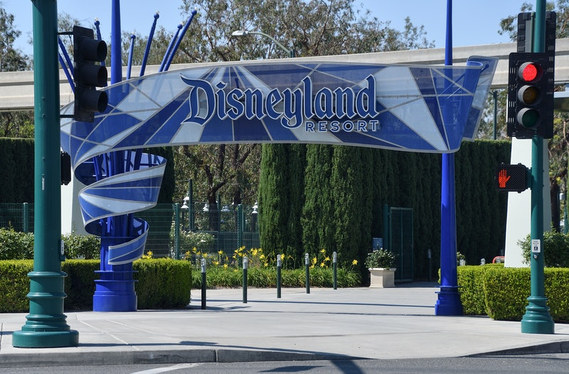 The Disneyland entrance where employees and fans held a rally to urge the state to allow reopening.