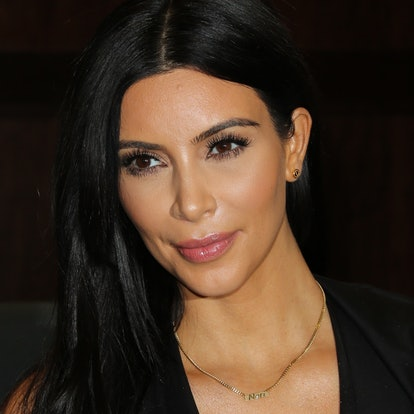 A pink lip and rosy cheeks is one of Kim Kardashian's most natural beauty looks