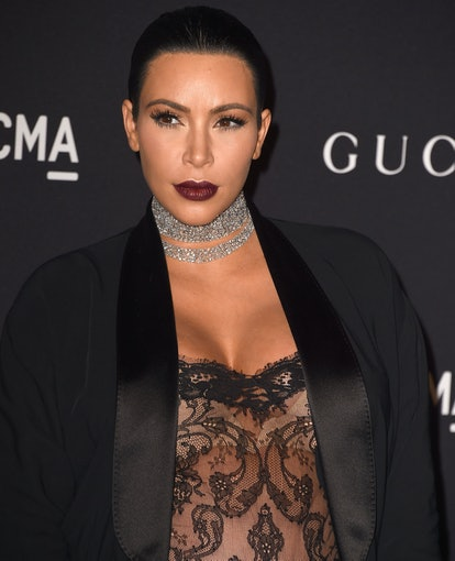 A colorful pout is one of Kim Kardashian's rarest beauty looks