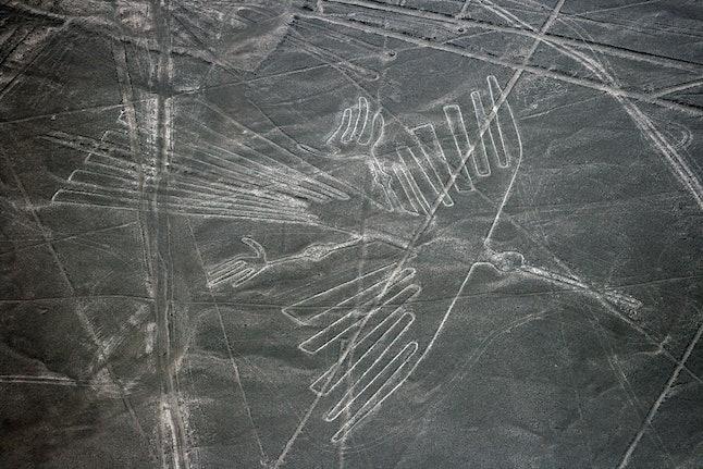 Nazca lines in Peru that depict a condor.