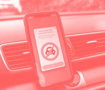 The Waze navigation app running on an iPhone.