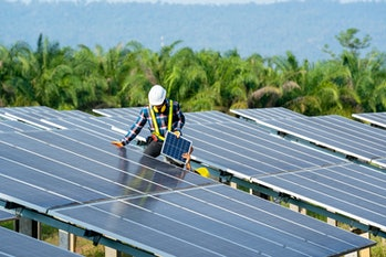Solar panel installation would be one job that could be paid for under the proposal.