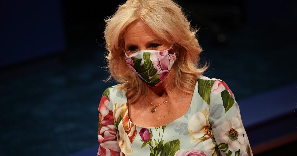 Twitter Can't Get Enough Of Jill Biden Matching Her Face Mask To Her Dress