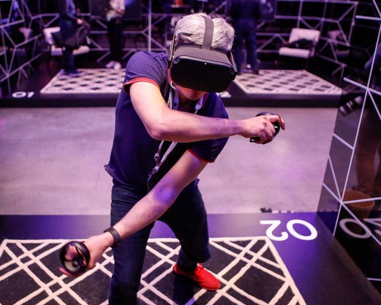 Facebook's Oculus VR headset worn in action.