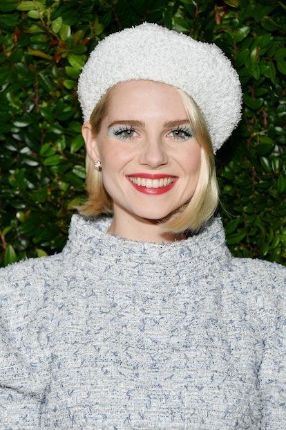 Boynton wore blue eyeshadow to the pre-Oscar Awards dinner.