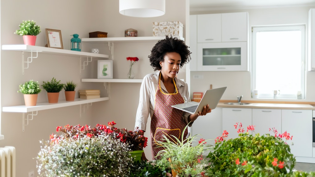 A young Black woman looks at her laptop while standing next to a table filled with potted plants in her home.
