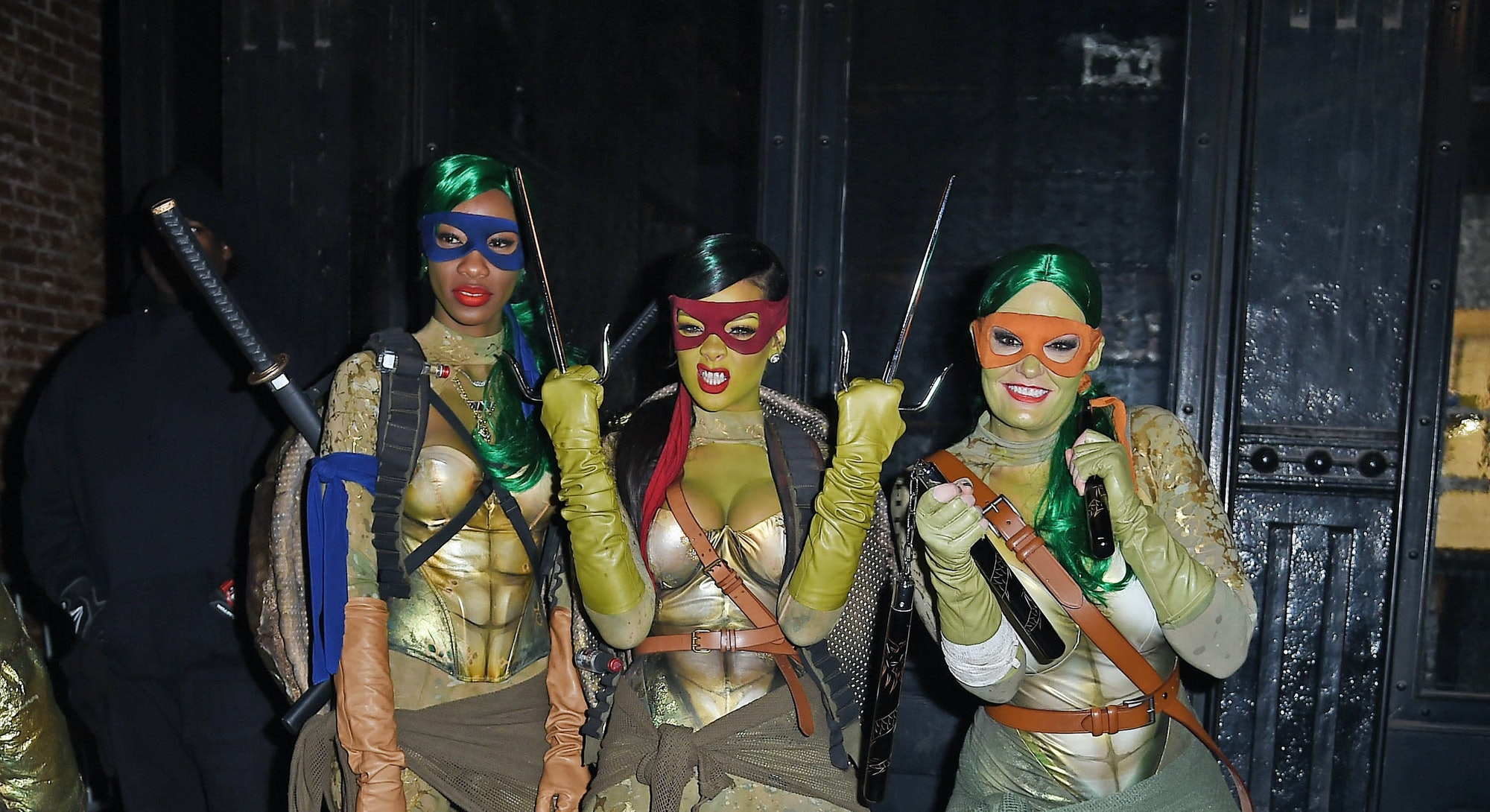 Rihanna dressed as a Teenage Mutant Ninja Turntle for Halloween in 2014.