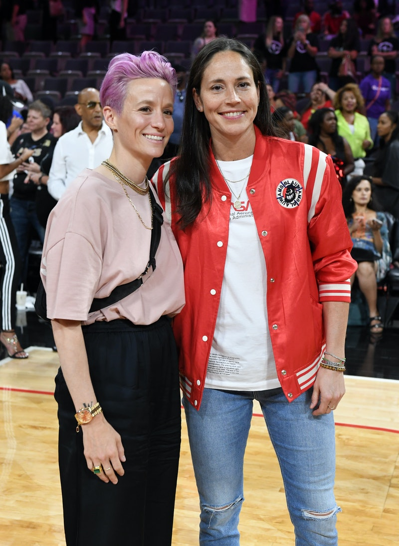 Megan Rapinoe & Sue Bird (pictured together at the 2019 WNBA All-Star Game in Las Vegas) got engaged after 4 years of dating.