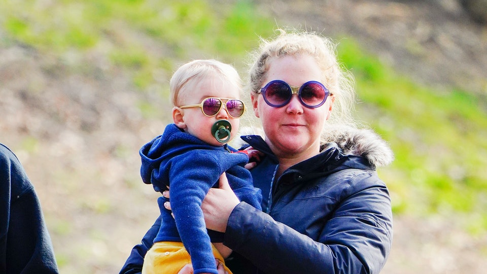"""Amy Schumer accidentally gave her son Gene a scare when she gasped loudly in delight after he said the word """"dad"""" for the first time."""