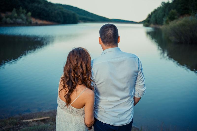 couple, lake