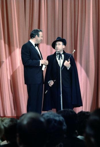 Brooks and Carl Reiner perform