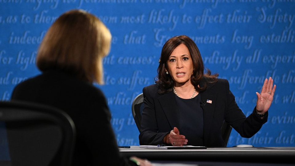 "Democratic vice presidential nominee Kamala Harris pushed back on Vice President Mike Pence's attempt to interrupt with a firm, ""I'm speaking,"" at Wednesday's debate."