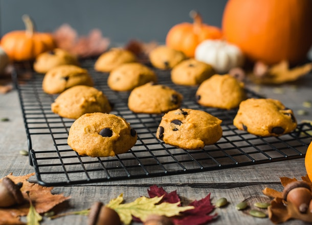 A batch of pumpkin spice cookies with chocolate chips sit on a rack, surrounded by leaves and pumpkins.