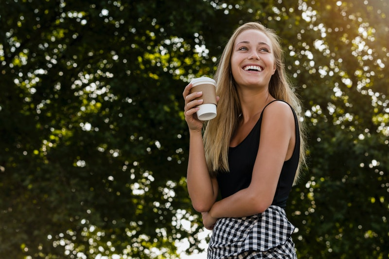coffee, happy, woman