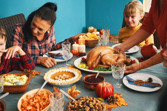 a family having thanksgiving dinner