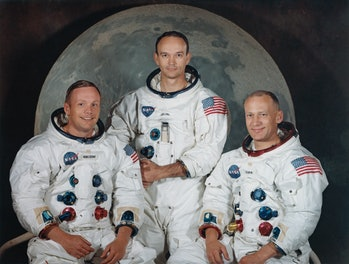 Neil Armstrong (left), Michael Collins, and Buzz Aldrin.