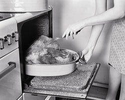 A woman pricks a thanksgiving turkey in the oven. Experts reveal strategies for dealing with political debates with family over the holidays.