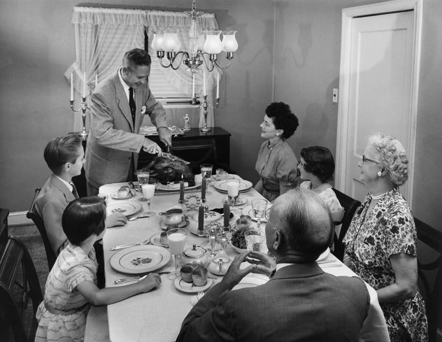 Family on Thanksgiving in the 1950s.