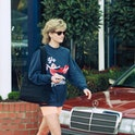 Princess Diana in front of a Mercedes-Benz