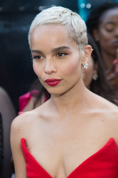 "Kravitz wore a raspberry red lippie to the ""Rough Night"" New York Premiere 2017."