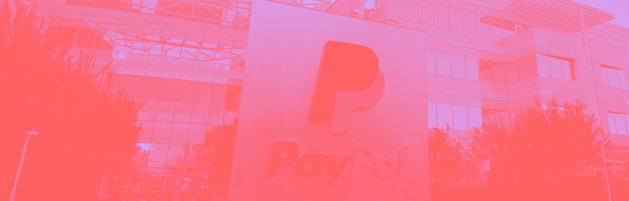 PayPal logo outside its company headquarters.