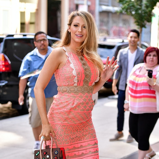 Blake Lively in pink dress