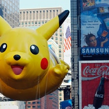 A pikachu float at the Macy's Thanksgiving Day Parade