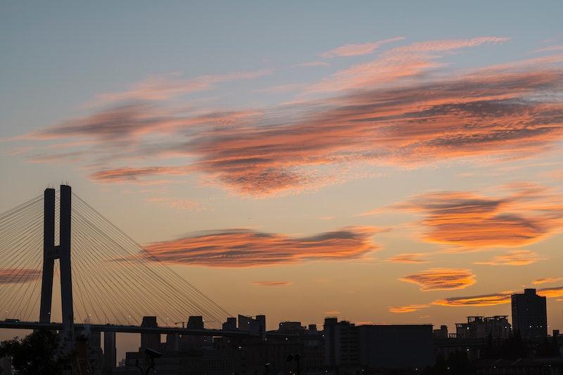 sunset, skyline, city skyline