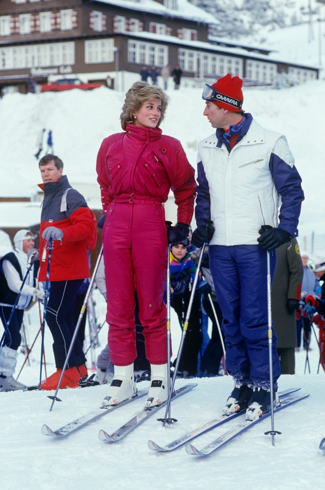 Princess Diana joins her husband for a ski holiday in Malbun, Liechtenstein in 1984.