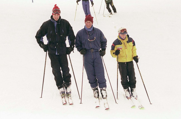 Prince Charles skis with his sons in Whistler, Canada in 1998.
