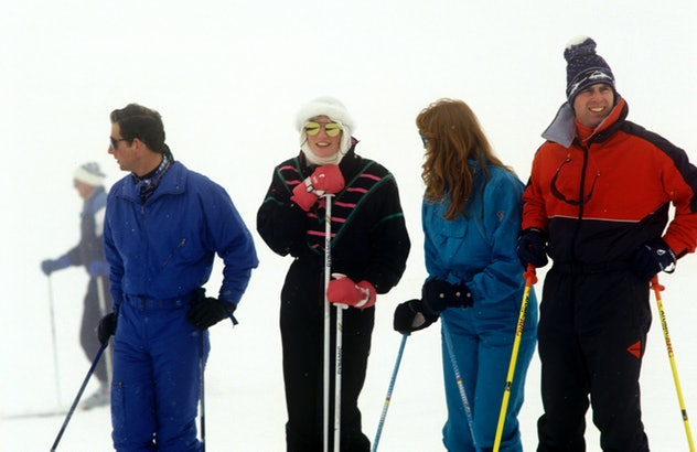 Princes Andrew and Charles ski with their wives in 1987.