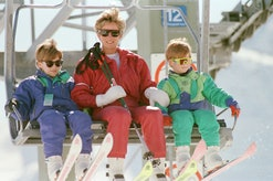 Princess Diana on a ski holiday with her sons.