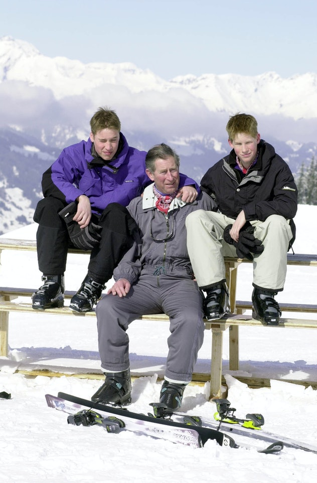 Prince Charles skis with Prince William and Prince Harry in Switzerland in 2000.