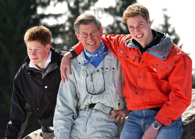Prince Charles poses with his sons in Klosters, Switzerland in 2002.