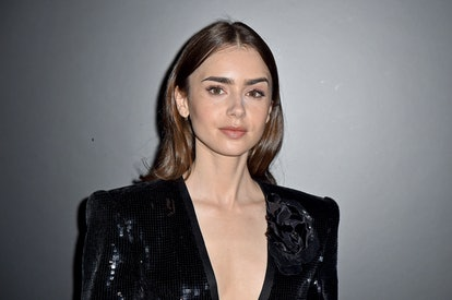 Lily Collins' bold brows will be in for winter 2021 makeup.