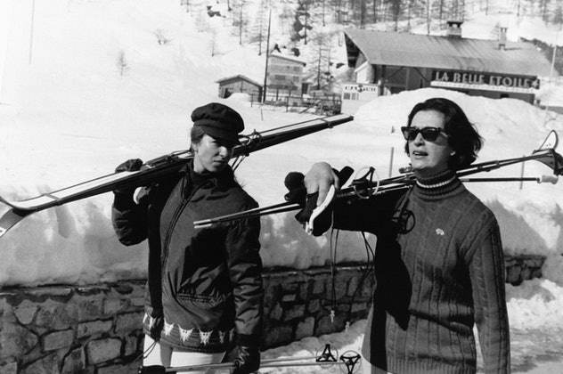 Princess Anne skis in France in 1969.