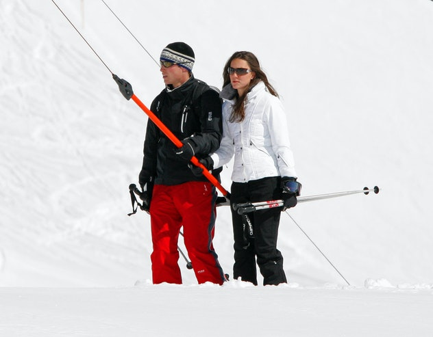Prince William skis with Kate Middleton in Switzerland in 2008.