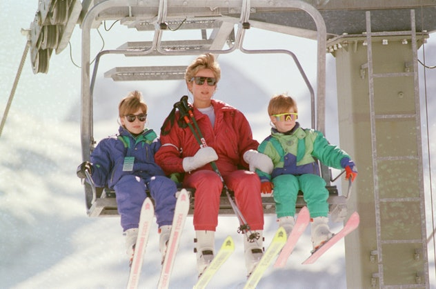 Princess Diana takes her sons for a ski trip in Austria in 1994.