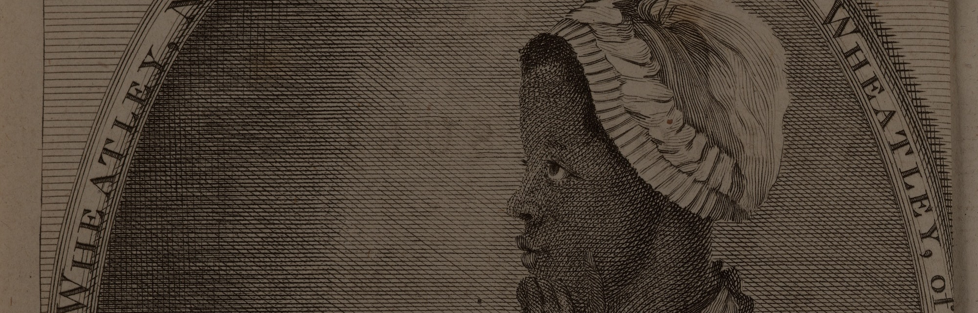 Phillis Wheatley portrait in profile, seated writing and looking off into the distance.