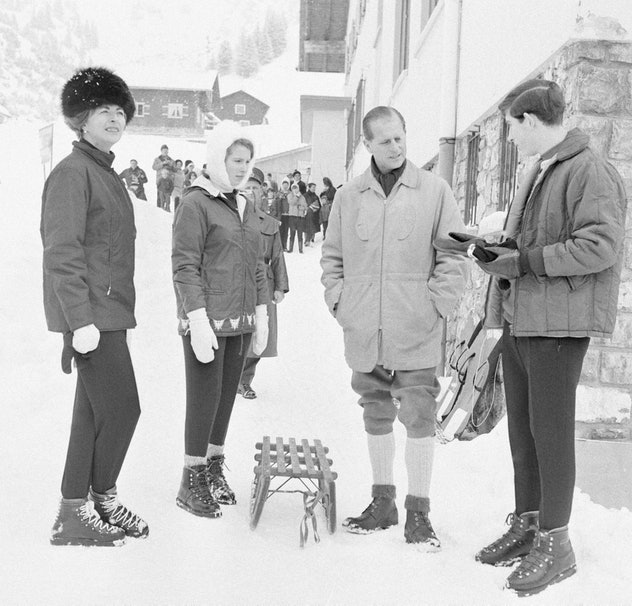 Prince Philip skis with Princess Anne and Prince Charles in Lichtenstein, 1965.