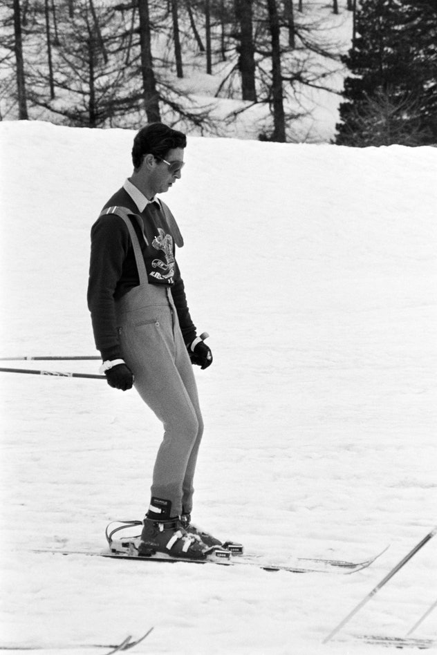 Prince Charles skis alone in the French Alps in 1965.