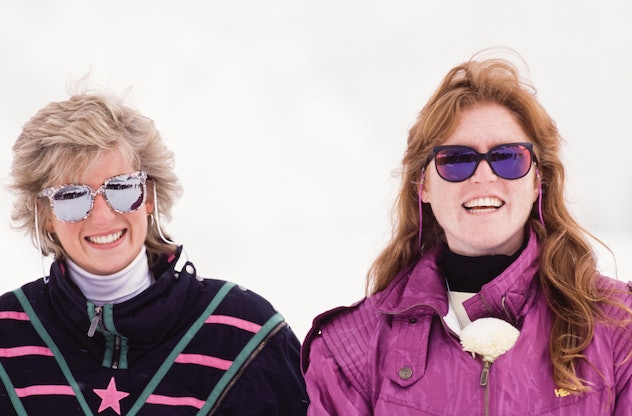 Princess Diana and the Duchess of York ski in Klosters, Switzerland in 1988.