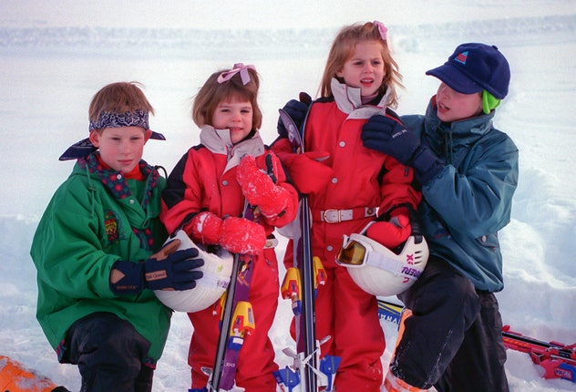 Princes Harry and William pose with Princesses Eugenie and Beatrice on a ski holiday in 1995.