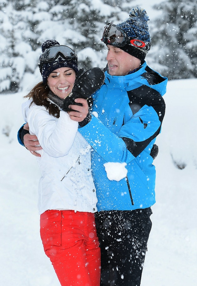 Prince William and Kate Middleton have fun in the snow in 2016.